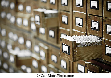 databank, ouderwetse , concept., de kaart van de bibliotheek...