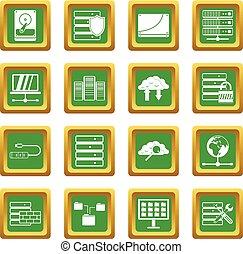 databank, set, groene, iconen