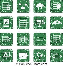 databank, set, grunge, iconen