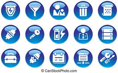 databank, set, iconen