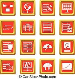 databank, set, rood, iconen