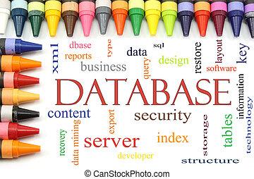 databank, woord, wolk, met, kleurpotlood, grens