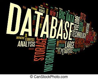 databas, begrepp, in, ord, moln