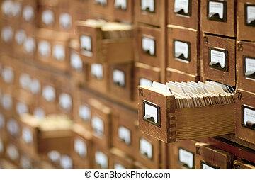 databas, concept., årgång, cabinet., bibliotek kort, eller,...