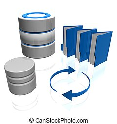 database - 3d illustration of data base