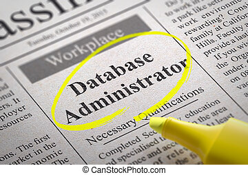 Database Administrator Jobs in Newspaper. Job Seeking Concept.