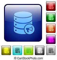 Database alerts color square buttons