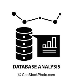 database analysis icon, black vector sign with editable strokes, concept illustration
