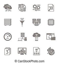 Database Analytics Black Icons Set