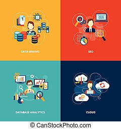 Database analytics icons flat set with data mining seo cloud isolated vector illustration.