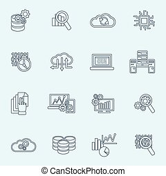 Database analytics icons outline