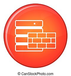 Database and brick wall icon, flat style