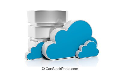 Database and cloud icons isolated on white background.
