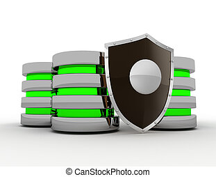 Database and computer data security concept  . 3d rendered illustration