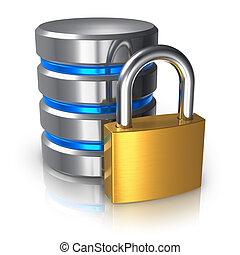 Database and computer data security concept: metal hard disk icon with golden padlock isolated on white background with reflection effect