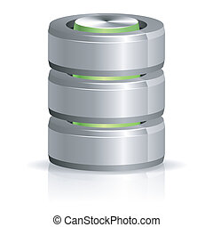 Database and Hard Disk Icon, isolated on white, vector...