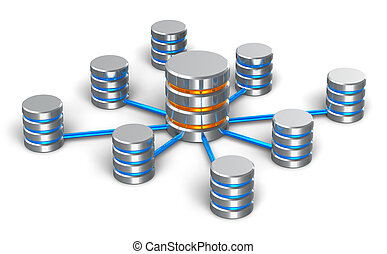 Database and networking concept: connected metal hard disk...