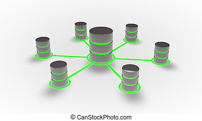 Database and networking concept,  Database icons with green glow .3d render