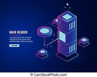 Database and processing data process icon, data center, server room, cloud storage illustration, futuristic