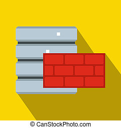 Database and red brick wall icon, flat style