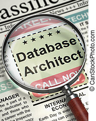 Database Architect Job Vacancy. 3D.