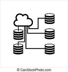 database, baza, ikona, dane, chmura, ikona
