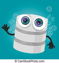 database big data storage cartoon hands eyes mascot cute funny smile tech object vector