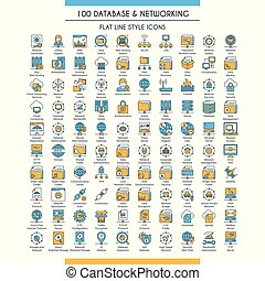 Database and networking big icons set. Modern icons on theme storage, analysis, organization, synchronization and data transfer. Flat line design icons collection. Vector illustration