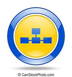 database blue and yellow web glossy round icon