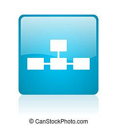 database blue square web glossy icon