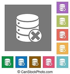 Database cancel square flat icons