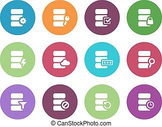 Database circle icons on white background.