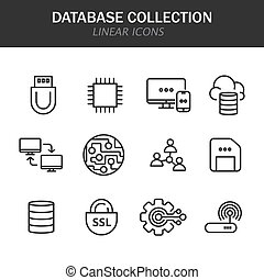 Database collection linear icons in black on a white background
