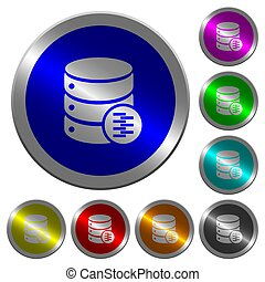 Database compress data luminous coin-like round color buttons