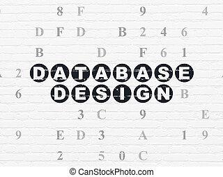 Database concept: Database Design on wall background