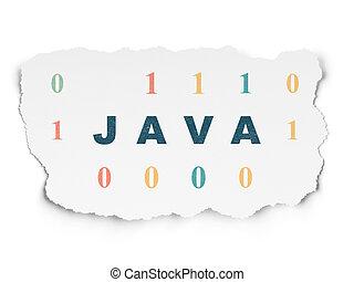Database concept: Java on Torn Paper background