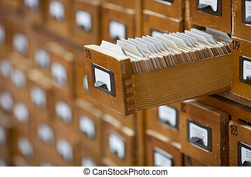 database concept. vintage cabinet. library card or file...