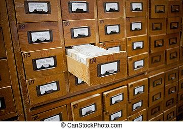 database concept. vintage cabinet. library card or file...