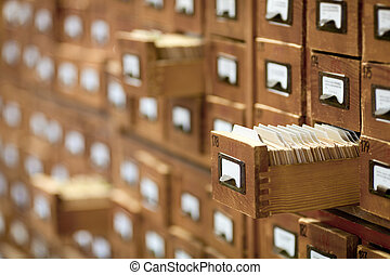 database concept. vintage cabinet. library card or file ...