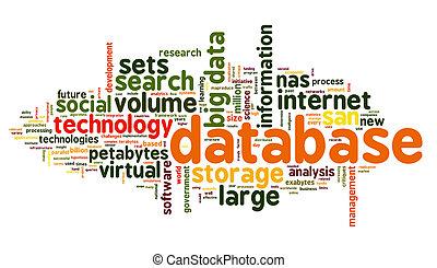 database, concetto, in, parola, nuvola