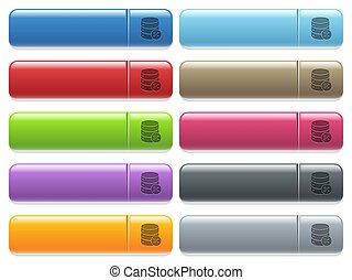Database cut icons on color glossy, rectangular menu button