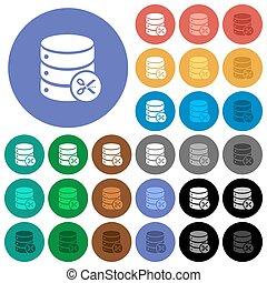 Database cut round flat multi colored icons
