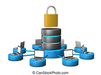 Database D-Lock - Database with laptops and d-lock on the...