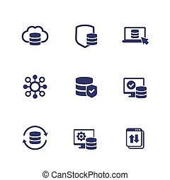 database, data storage and security icons, eps 10 file, easy to edit