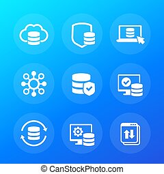 database, data storage and security, vector icons, eps 10 file, easy to edit