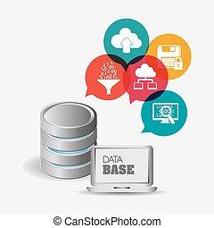 Database design over white background, vector illustration.