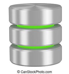 database, elementi, verde, icona