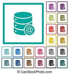 Database email flat color icons with quadrant frames on...