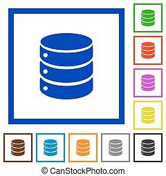 Database framed flat icons