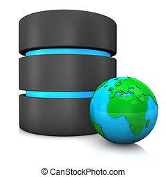 Database Globe - Database with globe on the white background...